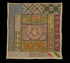Mexican Sampler ~ 1867 ~ Eustolia ~ Embroidered linen in colored silks using satin stitch, overcast bars, needle weaving, pulled thread work and drawn thread work. Square with rectangular sections containing geometric and floral patterns and motifs. 'Dechado de Eustolia / canseo Ejutla / Abril de 186 / 24 7' (Sampler of Eustolia)