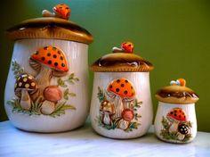 mushroom kitchen decor | 1970's Sears Merry Mushroom Kitchen Canister Set by twolittleowls