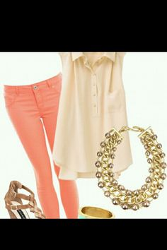 Coral pants + gold accessories