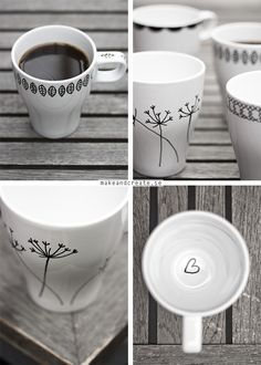 porcelain pen + ikea mugs