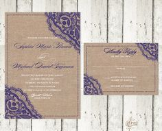 Romantic Lace and Burlap Wedding Invitation by OneLovePaperie
