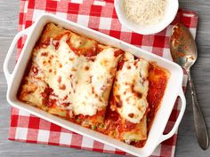 Baked Manicotti with Sausage and Peas recipe from Giada De Laurentiis via Food Network
