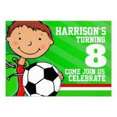 Kids soccer / football green birthday invitation