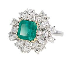 1960s Drama: Large Emerald Diamond Cluster Ring - The Three Graces