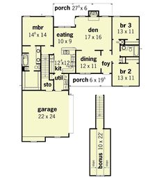 Country Style House Plan - 3 Beds 2 Baths 1610 Sq/Ft Plan #16-129 Floor Plan - Main Floor Plan - Houseplans.com