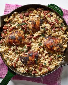 Jerk Chicken with Jamaican Rice and Peas Recipe. Need recipes and ideas for easy weeknight dinners and meals featuring chicken thighs? Oven baked boneless skinless chicken thighs star in this one dish or one pot meal. Great for cooking in a cast iron skillet. We love when the side dishes are included.