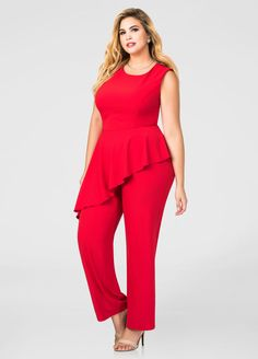 Plus Size Flounce Peplum Straight Leg Jumpsuit Plus Size Dresses, Plus Size Outfits, Fashion Pants, Fashion Dresses, Plus Size Jumpsuit, Stylish Plus, Plus Size Fashion For Women, Curvy Fashion, Womens Fashion