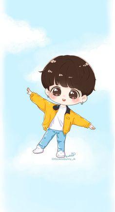 Bts Jungkook, Jungkook Fanart, Fanart Bts, Bts Chibi, Anime Chibi, Kpop Drawings, Kawaii Drawings, Cartoon Drawings, Cute Love Wallpapers
