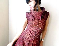 Marsala Cowl Dress, Handmade Jersey Dress, Earthy Dark Red, Sleeveless Screenprint Dress, Hand Printed Dress, Retro Futuristic, Wearable Art