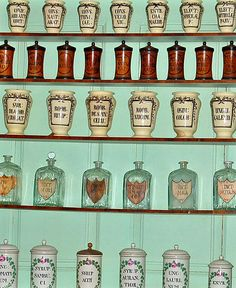 Apothecary Jars at the 1786 Holy Ghost Pharmacy at the Semmelweiss Medical Museum by Curious Expeditions, via Flickr