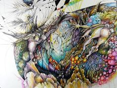 "Saatchi Online Artist Jennifer Gillia Cutshall; Drawing, ""Many Moons Feather the Wind"" #art"