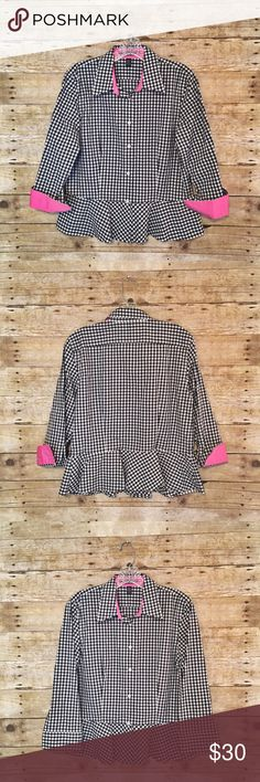 Ralph Lauren Gingham Checked Peplum Button-Down Ralph Lauren Gingham Checked Peplum Button-Down  • Size 8 / Medium • True to size • Black & white gingham / checked pattern • Hot pink accents inside wrists & collar • Collared button-down • Peplum • 100% cotton • Like New Condition Lauren Ralph Lauren Tops Button Down Shirts