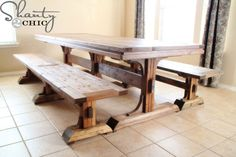 This goregous DIY farmhouse bench matches our Triple Pedestal Farmhouse Table plans. Plans include free step by step diagrams, shopping list and cut list. Farmhouse Table With Bench, Diy Dining Table, Table Bench, Rustic Bench, Wood Tables, Outdoor Dining, Side Tables, Dining Rooms, Furniture Plans