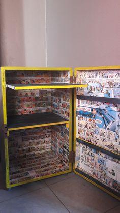 Coffre transformé en bureau à roulettes. Fan art gaston la gaffe et bob et bobette Oldies factory Transformers, Fan Art, Desk, Paintings, Fanart