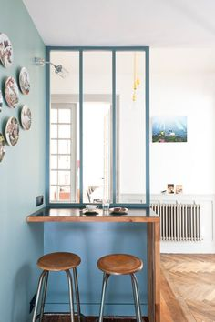 blue painted eating nook