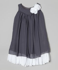 on #zulily! Gray & White Swing Dress - Infant, Toddler & Girls by Kid Fashion #zulilyfinds