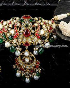 Dual Peacock Kundan Pendant by Arnav Jewels