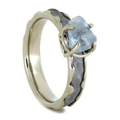 Aquamarine Engagement Ring, Meteorite In Wavy 10k White Gold-3251  This aquamarine engagement ring brings together an uncut aquamarine stone and genuine gibeon meteorite. A wavy white gold design holds the meteorite and...