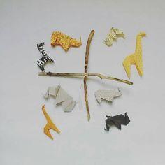 Mobile bébé en Origami plier main avec des éléphants girafe