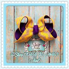 Lsu chevron burlap medium size bow  Www.facebook.com/ShopPonchy