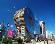 Fangyuan Mansión, se encuentra en la ciudad de Shenyang. Edificio con forma de moneda antigua china.