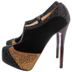 Preowned Christian Louboutin Pumps Gold Rhinestones ($752) ❤ liked on Polyvore featuring shoes, pumps, heels, multiple, embellished pumps, print pumps, rhinestone pumps, christian louboutin pumps and gold high heel shoes