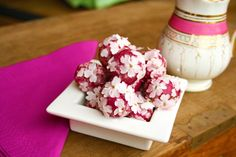Beetroot white chocolate truffles in an beautiful shade of pink rolled in edible primula petals