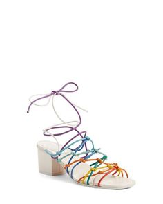 Chloé - Multicolor Lace-up Block Heel Sandal - Lyst Block Sandals, Lace Up Sandals, Block Heels, Italian Sandals, Lace Up Block Heel, Song Of Style, Fashion Week 2015, Nordstrom, Footwear