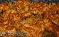Fűszeres-mustáros csirke krumplival recept fotóval Meat Chickens, Poultry, Vegetables, Food, Backyard Chickens, Essen, Vegetable Recipes, Meals, Yemek