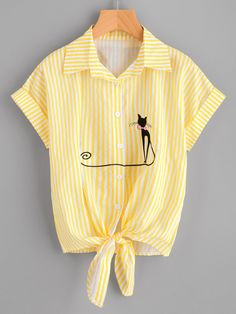 Preppy Striped and Cartoon Shirt Regular Fit Collar Short Sleeve Roll Up Sleeve Yellow and Bright Contrast Striped Cat Embroidery Cuffed Shirt Girls Fashion Clothes, Teen Fashion Outfits, Crop Top Outfits, Cute Casual Outfits, Shirt Cuff, Embroidered Shorts, Shirt Blouses, Shirts, How To Roll Sleeves