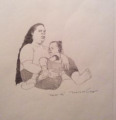 Mom and daughter |Sharp pencil on paper, 2014