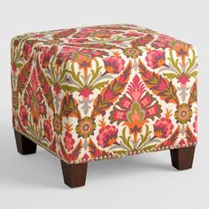Featuring a vivid floral motif on an ivory ground, our plush, custom-made ottoman is handcrafted with 100% cotton upholstery and nail trim. Pair two ottomans at the foot of a bed for dramatic seating and coordinate with our bed or headboard in the same custom fabric for a pulled together look.