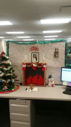 christmas in your office decorate your office space pinterest