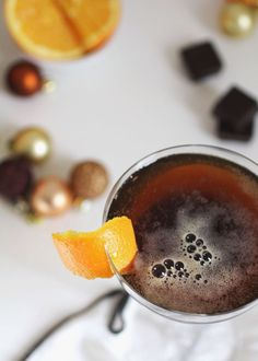 Chocolate and champagne new year's cocktail