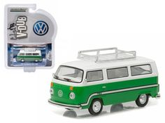 1977 Volkswagen Type 2 Bus (T2B) Sumatra Green with Roof Rack and Stripes 1/64 Diecast Model Car by Greenlight