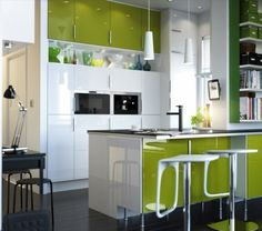 Top 15 Modern IKEA Kitchen Design Inspirations : Enticing White and Lime Green IKEA Kitchen Design with Lime Green Kitchen Cabinets and White Two Pendant Lamps Kitchen Design Small, Kitchen Cabinet Design, Ikea Kitchen Design, Contemporary Kitchen, Green Kitchen Designs, Kitchen Planner, Modern Kitchen Design, Minimalist Kitchen, Kitchen Design
