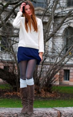 Boots + socks + tights + mini