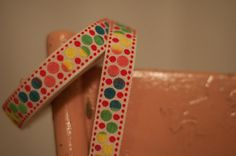 3 yards Vintage Trim Embroidered Fun Polka Dots  70s 80s Juvenile New Old Stock