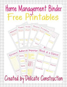 Home Management Binder {Free Printables} | Delicate Construction