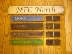 NFC North standings board Minnesota Vikings Green Bay Packers Chicago Bears Detroit Lions sign | MyRusticBoardSigns - Woodworking on ArtFire
