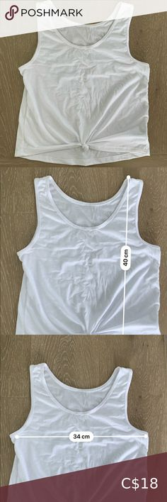 """Onzie Knot Crop Tank Brand new white knitted crop top. Purchased from Shopbop & never worn.  Size was """"one size"""" but fits like a small. Onzie Tops Crop Tops Embellished Dress, Crop Tank, Cropped Pants, Knot, Hot Pink, Athletic Tank Tops, Brand New, Closet, Armoire"""