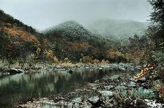 Frost, Creek, River, Fall, Dark