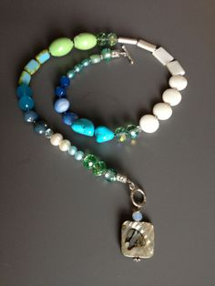 Blue Asymetrical Necklace - I Love my Blue Necklace - Abalone...