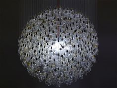 Recycled Light- chandelier made of old incandescent bulbs