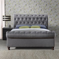 Katie Upholstered Sleigh Bed is the perfect statement piece, combines stylish buttoned detailing with a striking rolled headboard and footboard design. Sleigh Bed Frame, Sleigh Beds, Ottoman Bed, Upholstered Beds, Grey Furniture, Bedroom Furniture, Bedroom Bed, Bed Room, Master Bedroom