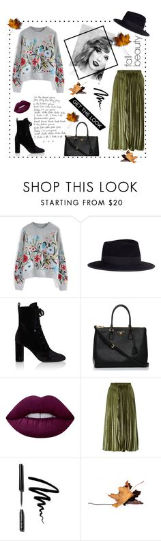 """""""fall sweater"""" by nadini0303 ❤ liked on Polyvore featuring Chicwish, Maison Michel, Yves Saint Laurent, Prada, Lime Crime, Whistles and Bobbi Brown Cosmetics"""