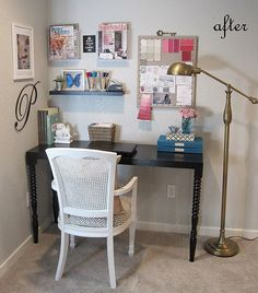 Love the blue boxes, flowers, and the details in this office nook.
