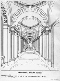 Archimap: view of the corridor inside the Library of Congress, Washington DC Source by ankemet Architecture Antique, Neoclassical Architecture, Historical Architecture, Architecture Art, Architecture Drawing Sketchbooks, Architecture Concept Drawings, Watercolor Architecture, Library Drawing, Perspective Drawing Lessons