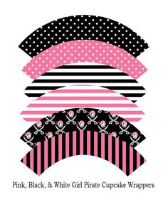 6 DesignsDIY Girl Pirate Cupcake Wrappers by PinkMonkeyPartyPrint, $4.00