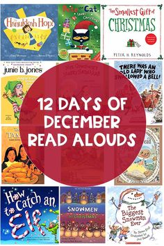 12 Days of December Read Alouds Find new books to read aloud this December. Includes books for Christmas and Hanukkah, and multicultural / diverse books. Christmas Books, Christmas Hanukkah, Book Bins, Read Aloud Books, Kindergarten Reading, Kindergarten Christmas, Kindergarten Rocks, Mentor Texts, Christmas Activities